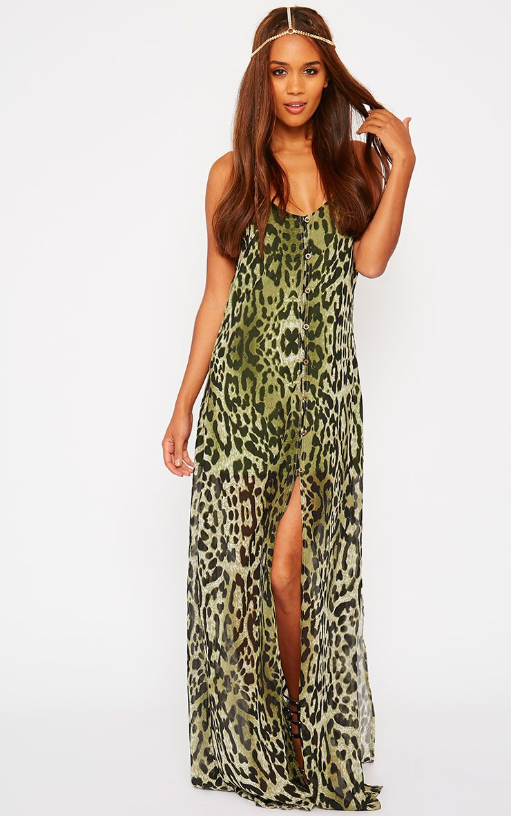 Jamila Green Leopard Print Button Front Maxi Dress 1