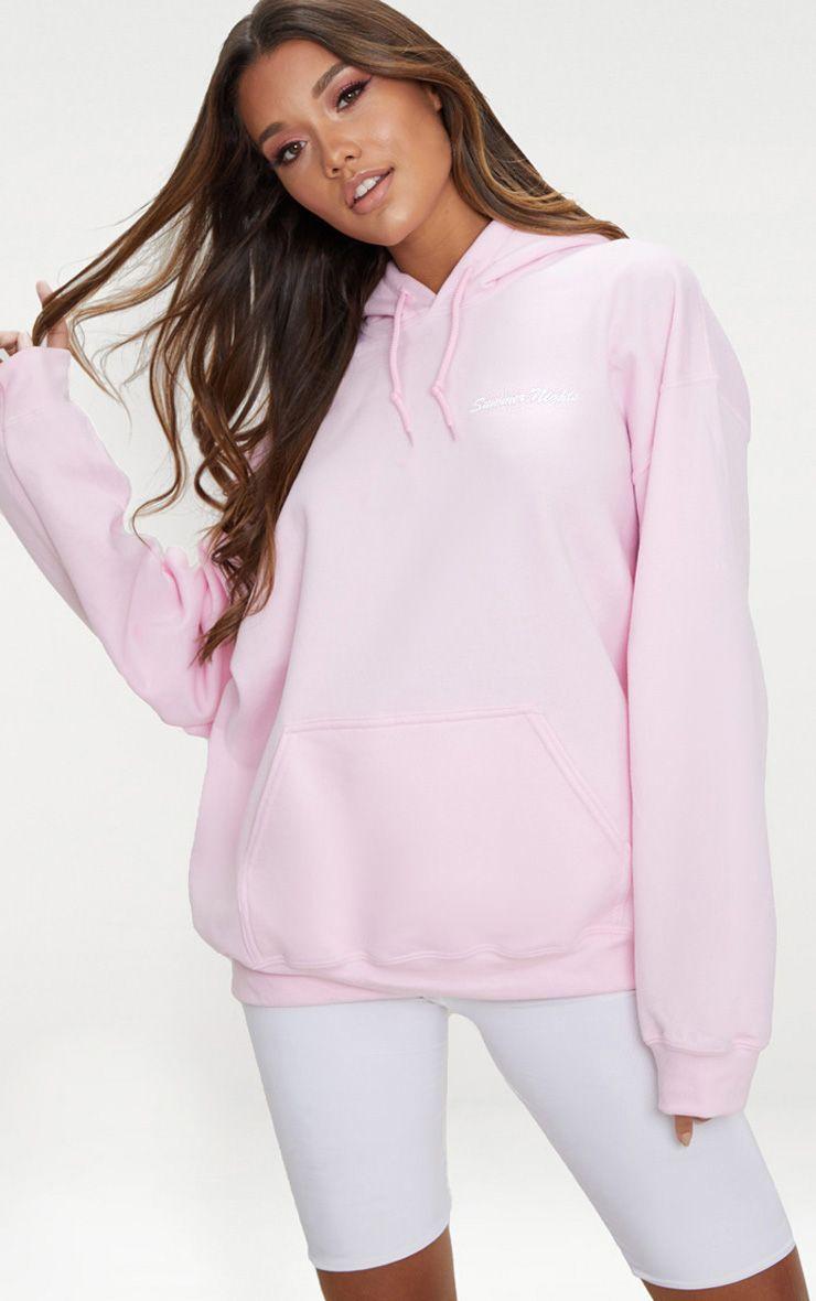 Pastel Pink Summer Nights Slogan Hoodie