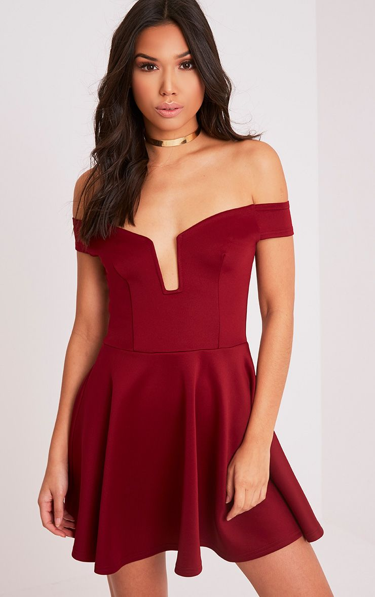 Mariah Burgundy Plunge Bardot Skater Dress