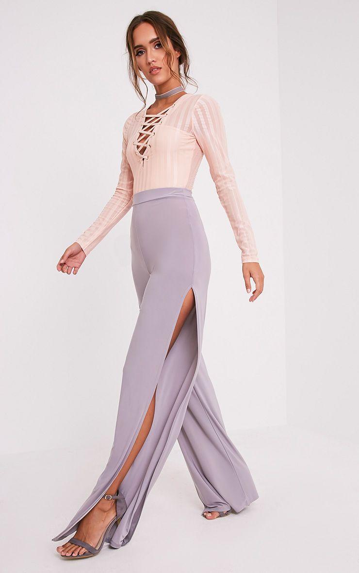 Darsee Grey Side Split Slinky Trousers 1