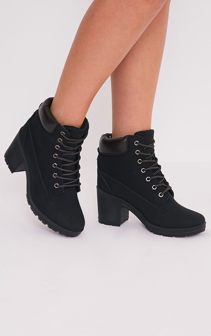 Mallie Black lace Up Heeled Ankle Boots 1