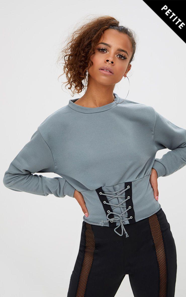 Petite sweat bleu pétrole à détail corset
