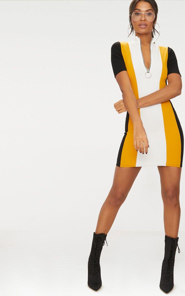 Yellow Motor Cross Ring Pull Dress