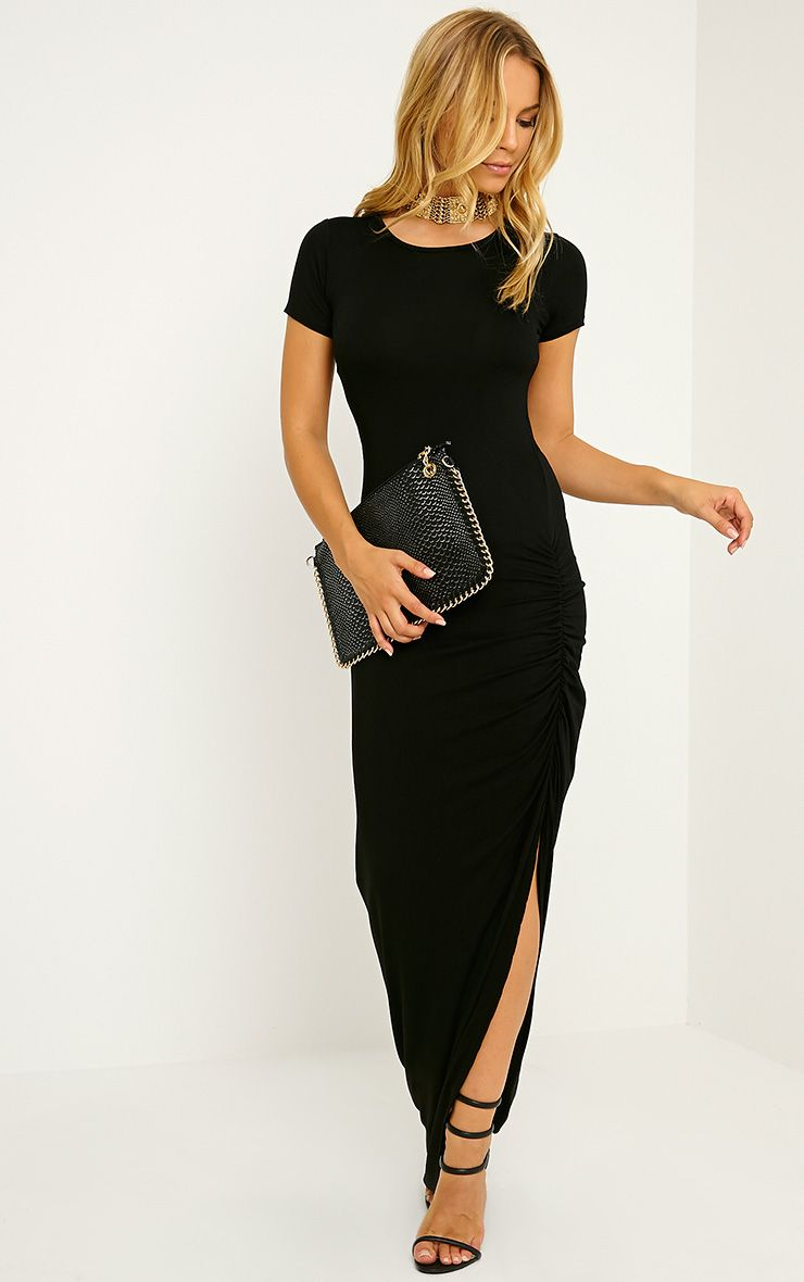 Basic Black Ruched Cap Sleeve Maxi Dress
