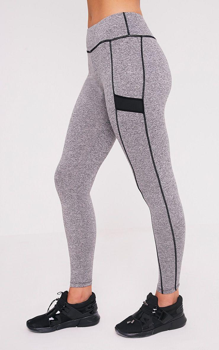 Alexis Grey Marl Panelled Gym Leggings 4