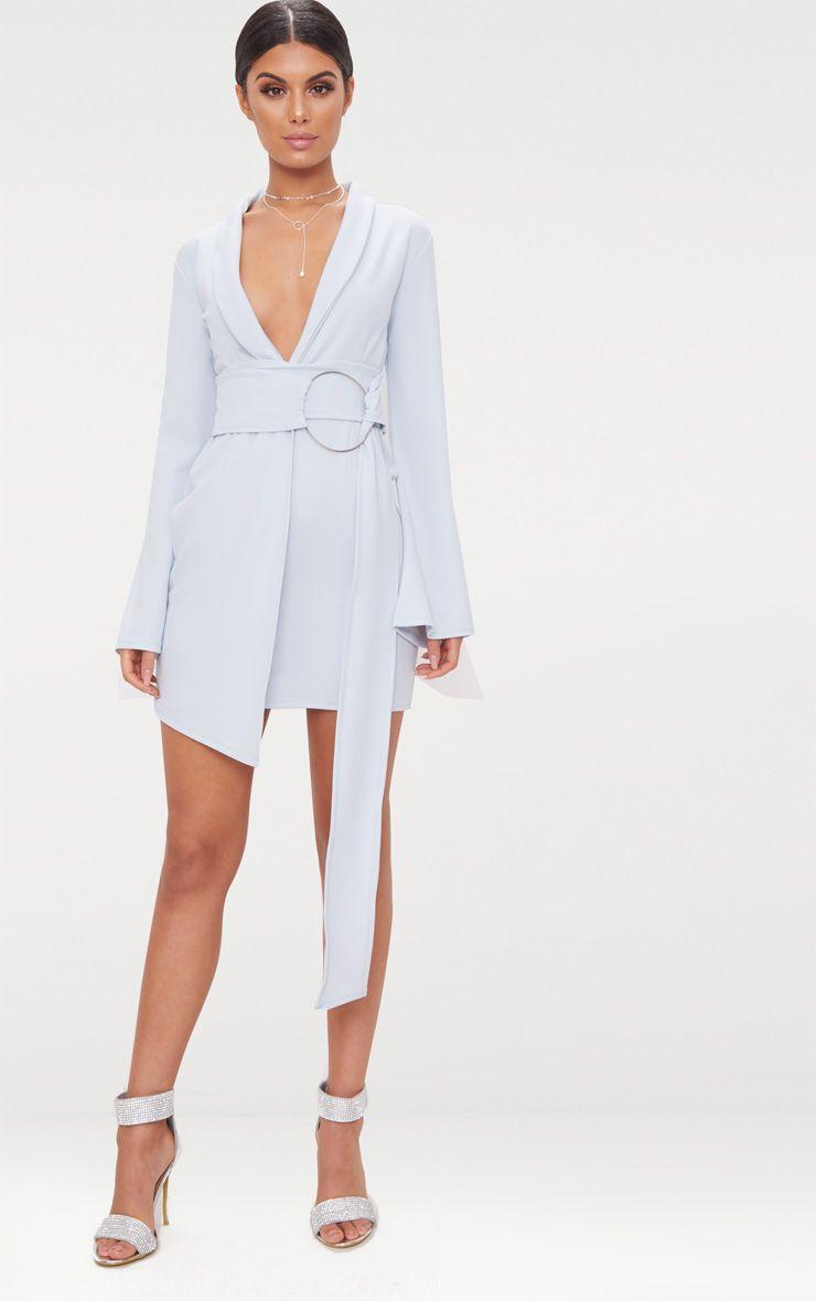 Dusty Blue Oversized Ring Detail Blazer Dress