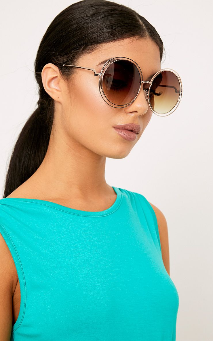 Lilia Gold Round Cut Out Frame Sunglasses