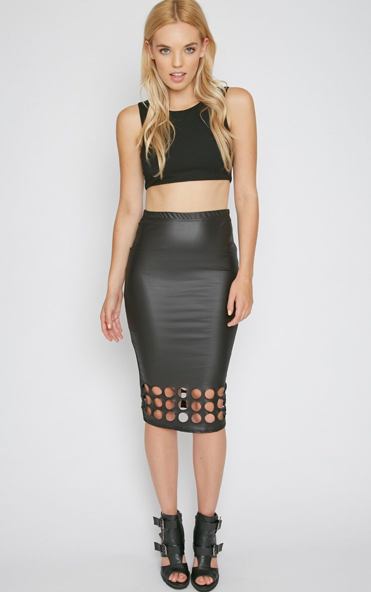 Kirsty Black Cut Out Midi Skirt  1