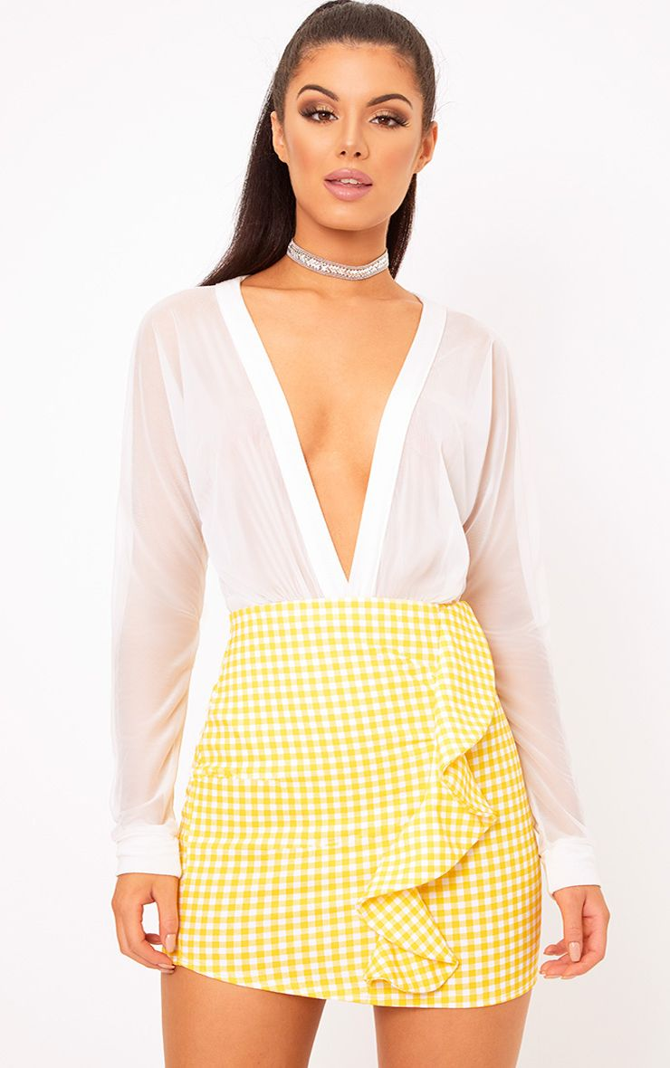 Yellow Gingham Ruffle Mini Skirt 1
