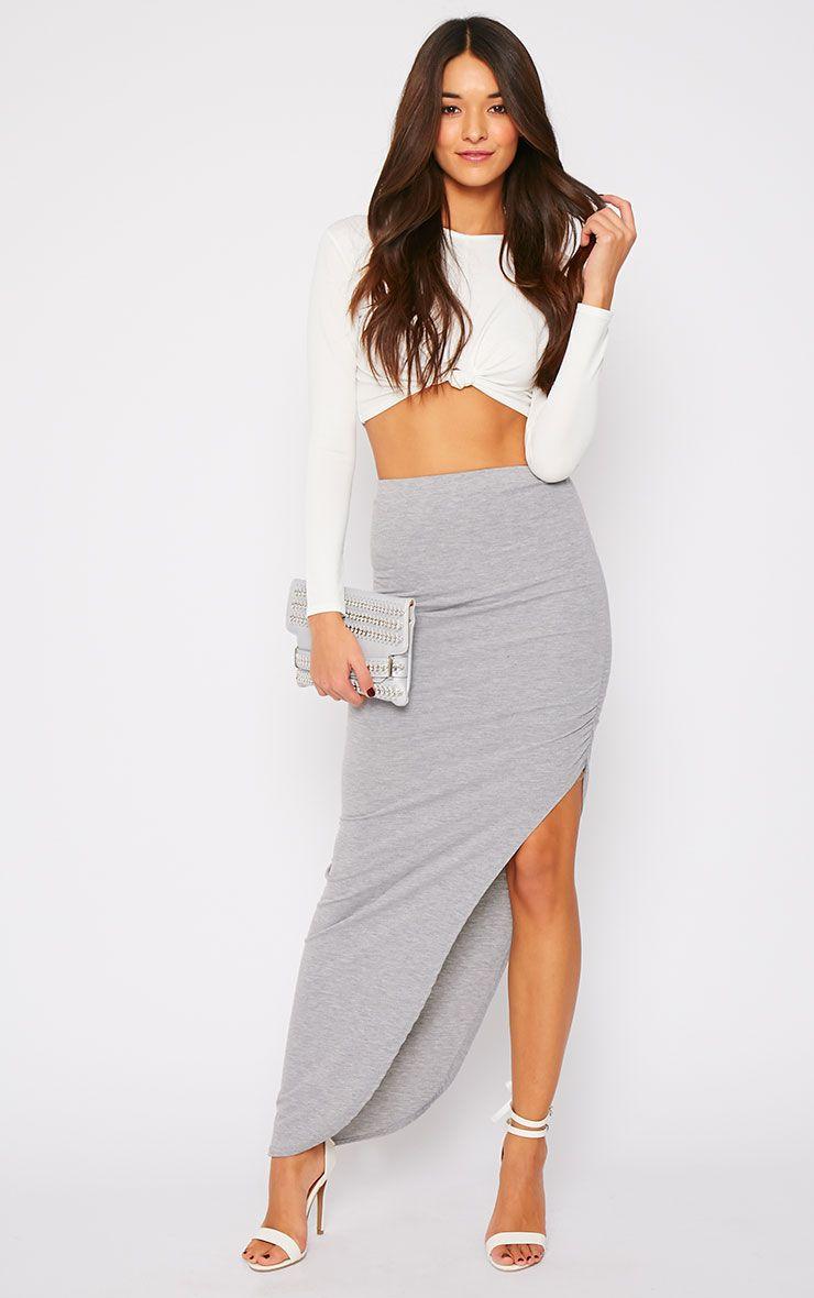 Etta Grey Ruched Jersey Maxi Skirt 1