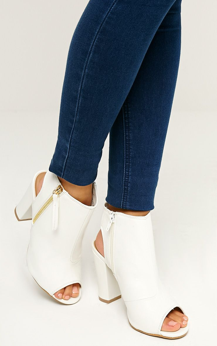 Liza White Peep Toe Ankle Boots 1