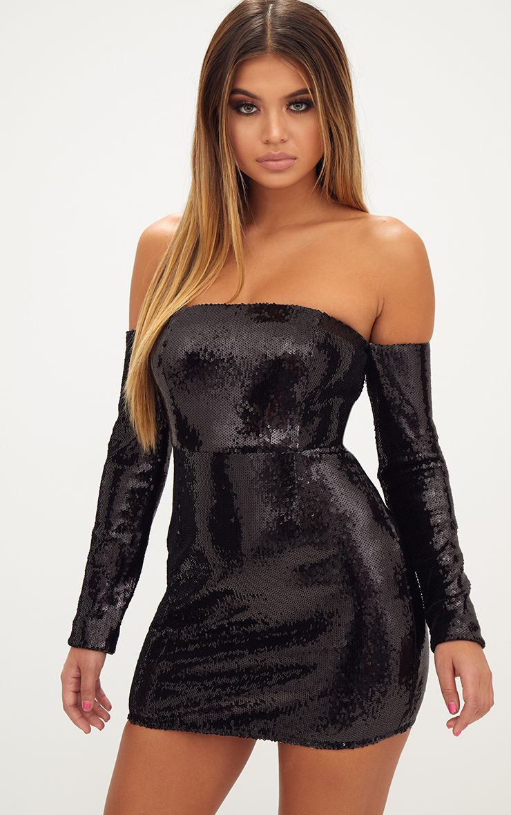 Black Sequin Long Sleeve Bardot Bodycon Dress