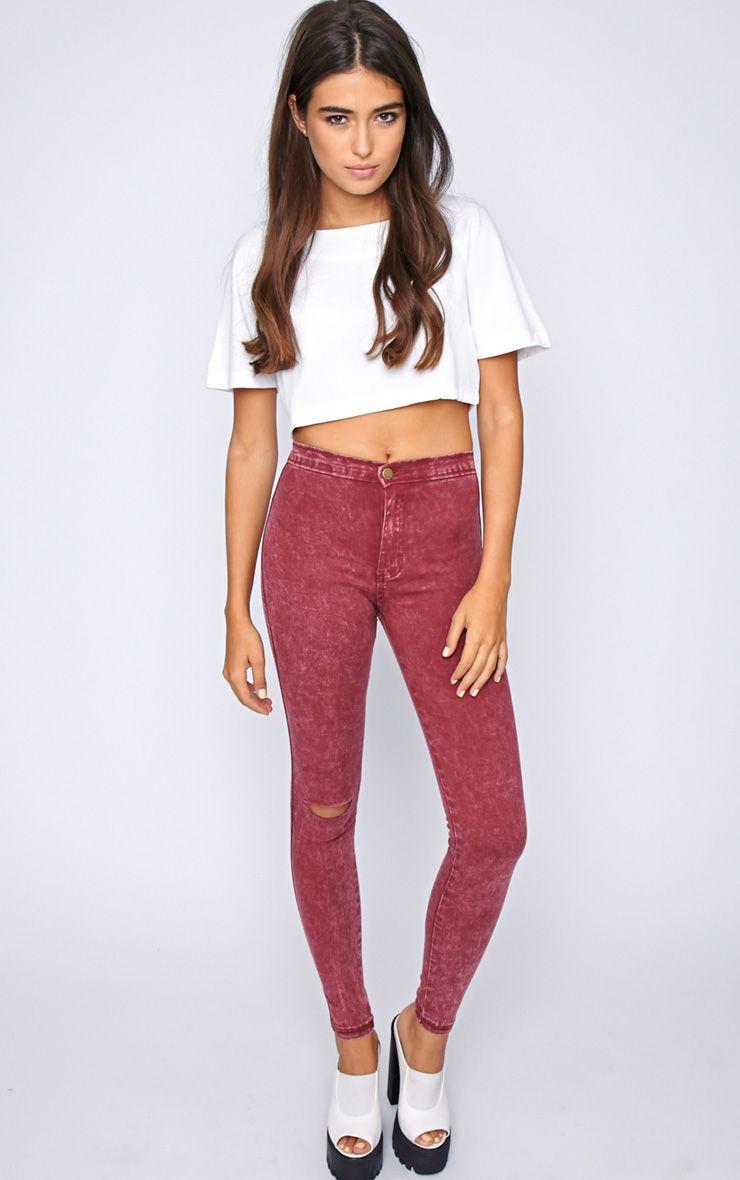 Zuri Red Acid Wash Skinny Jean  1