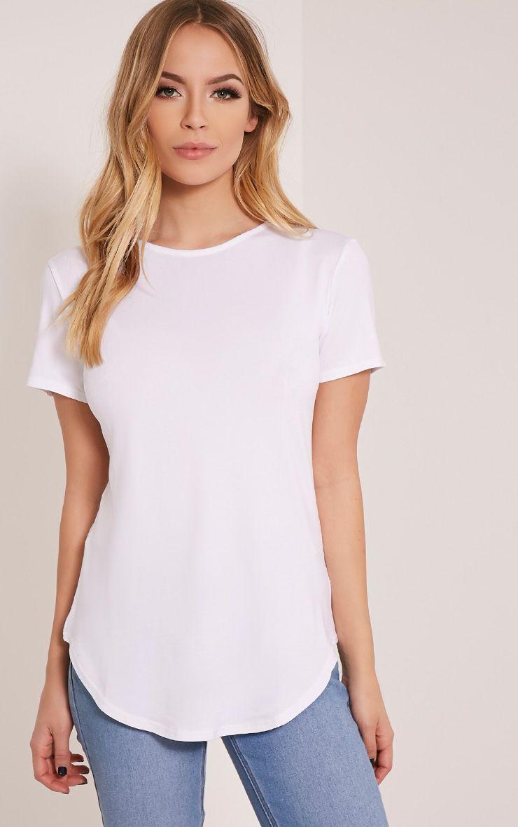 Basic White Curved Hem T Shirt 1
