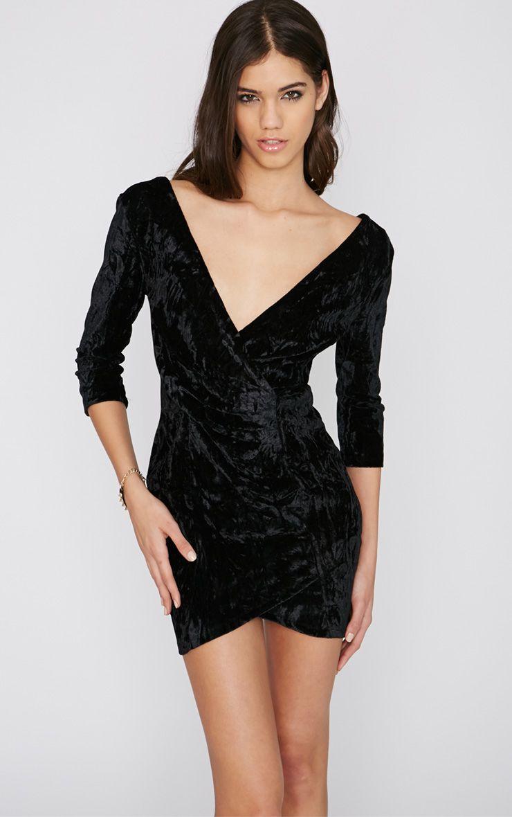 Hayden Black Velvet Wrap Dress 1