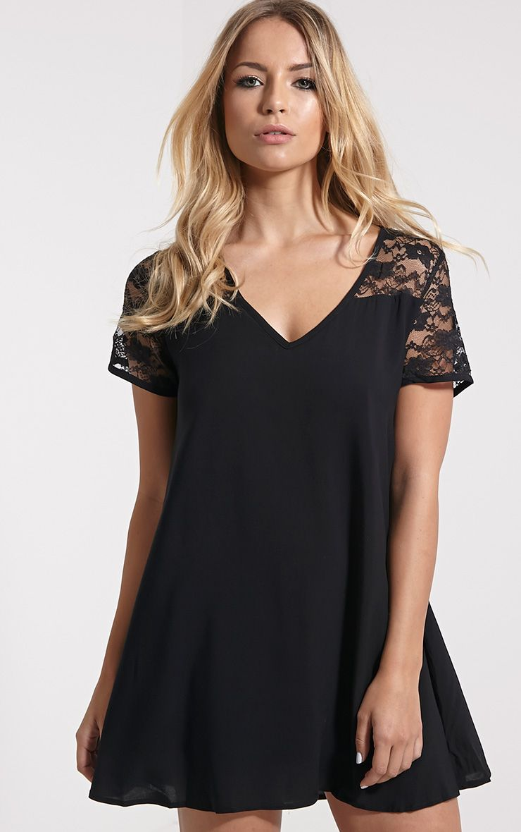 Uri Black Lace Detail Shift Dress 1