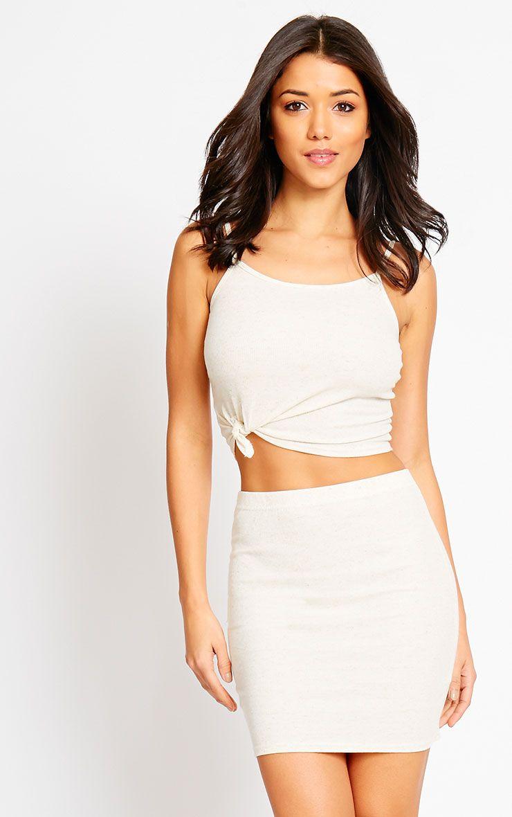 Honey Cream Ribbed Mini Skirt 1