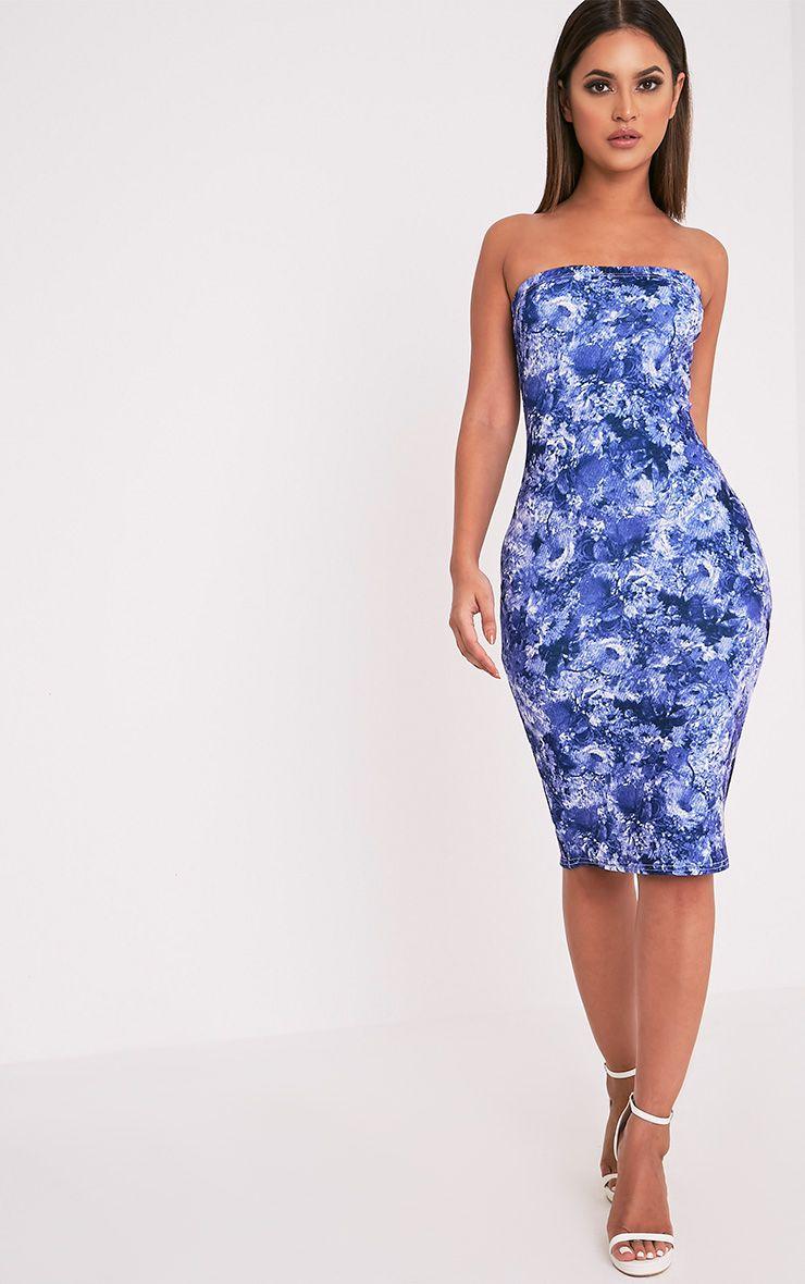 Jasmea Blue Oriental Bandeau Midi Dress 1