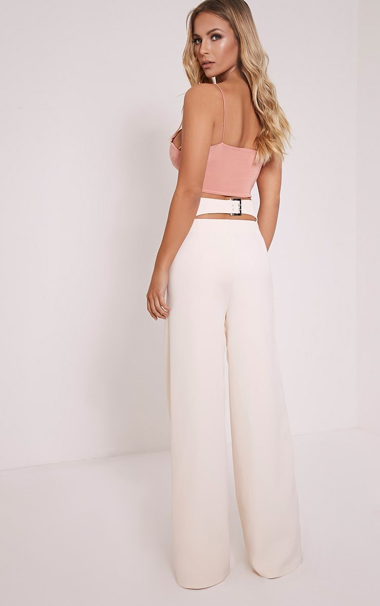 Ruth Cream High Waisted Cut Out Wide Leg Trousers 1