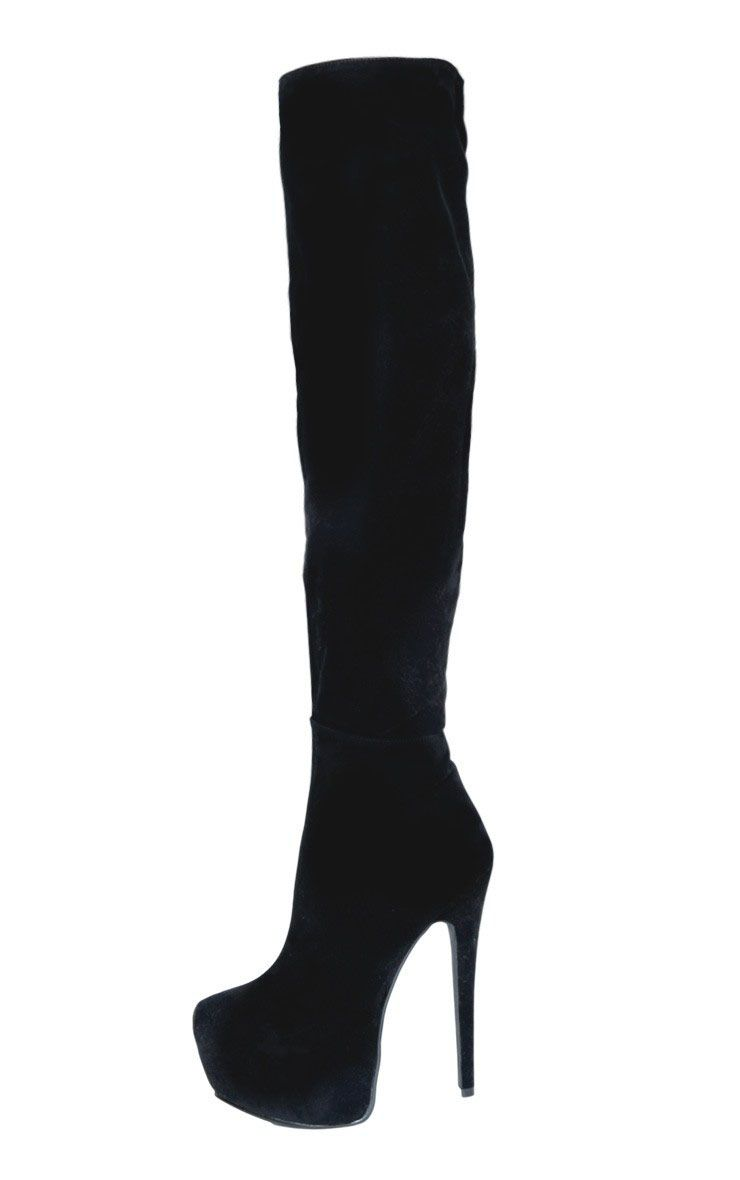 Izzy Black Suedette Over The Knee Boots 1