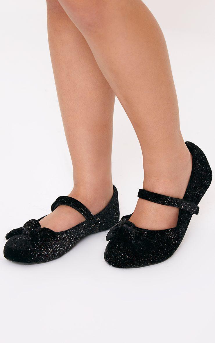 Black Velvet Glitter Ballet Pump