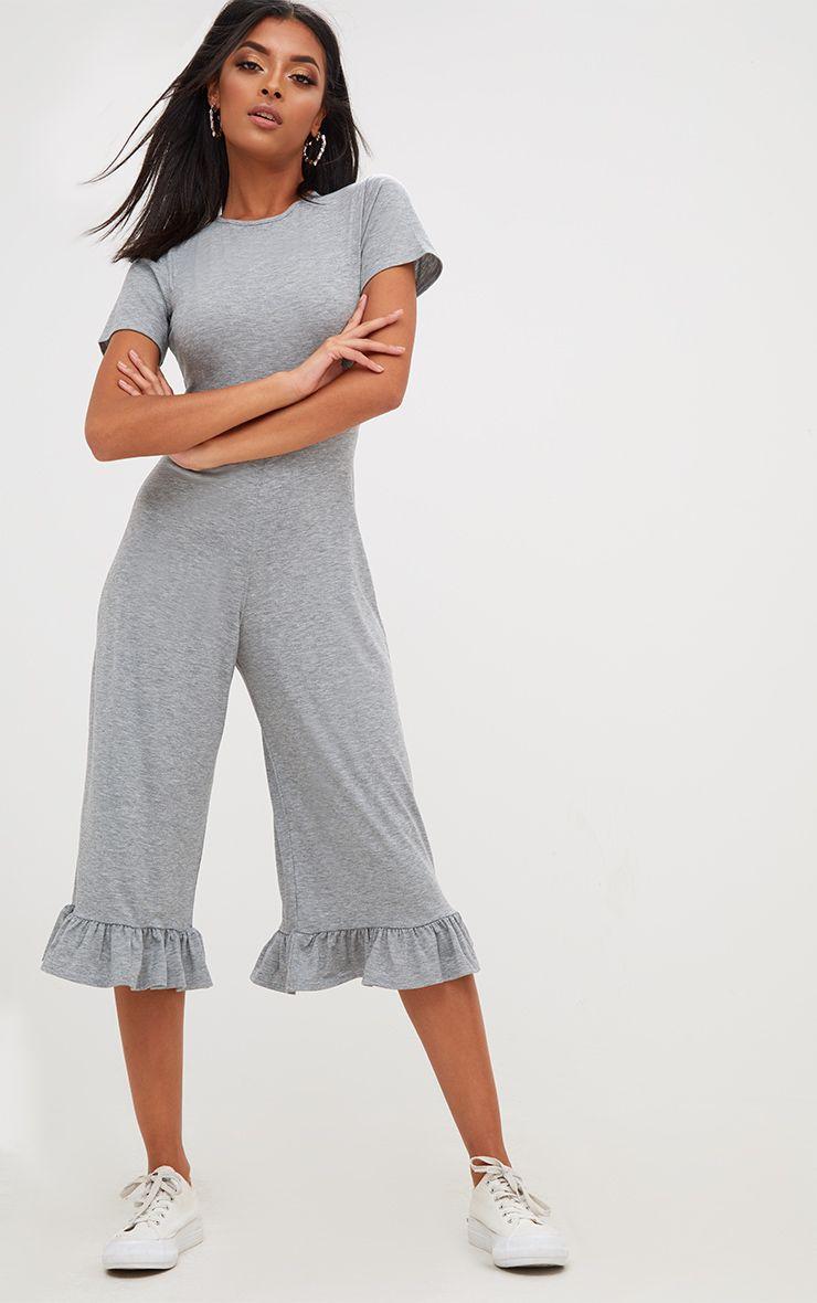 Grey Marl Jersey Short Sleeve Frill Hem Culotte Jumpsuit