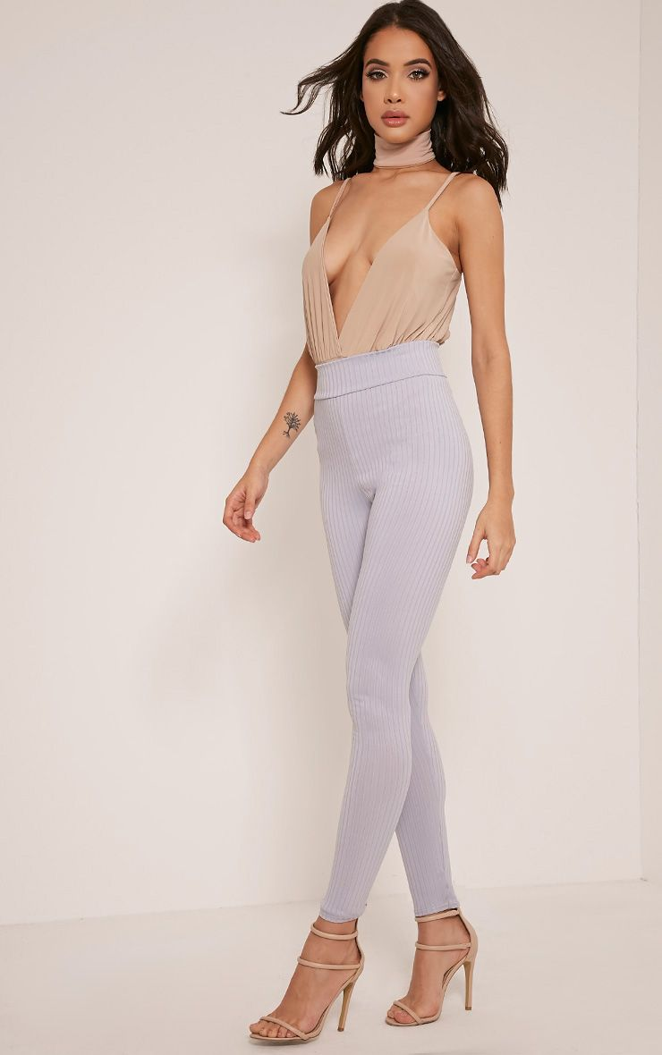 Harlie Ice Blue Ribbed High Waisted Leggings 1