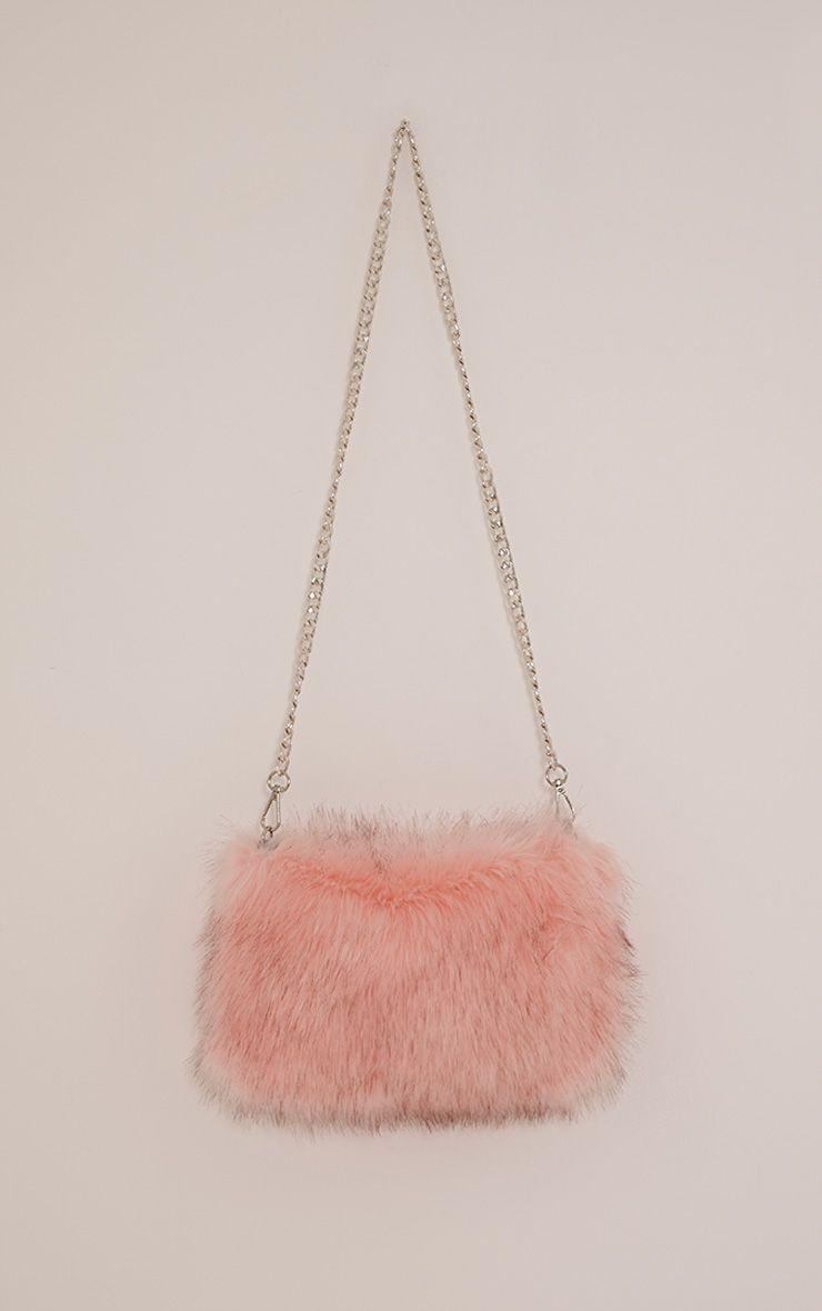 Christah Baby Pink Faux Fur Chain Shoulder Bag 1