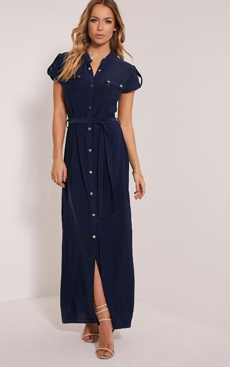Larrie Navy Utility Maxi Dress 1