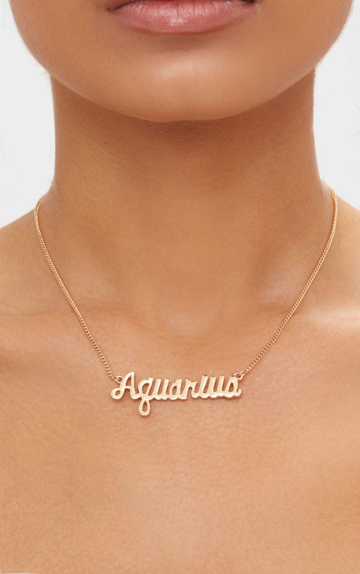 Aquarius Zodiac Gold Necklace