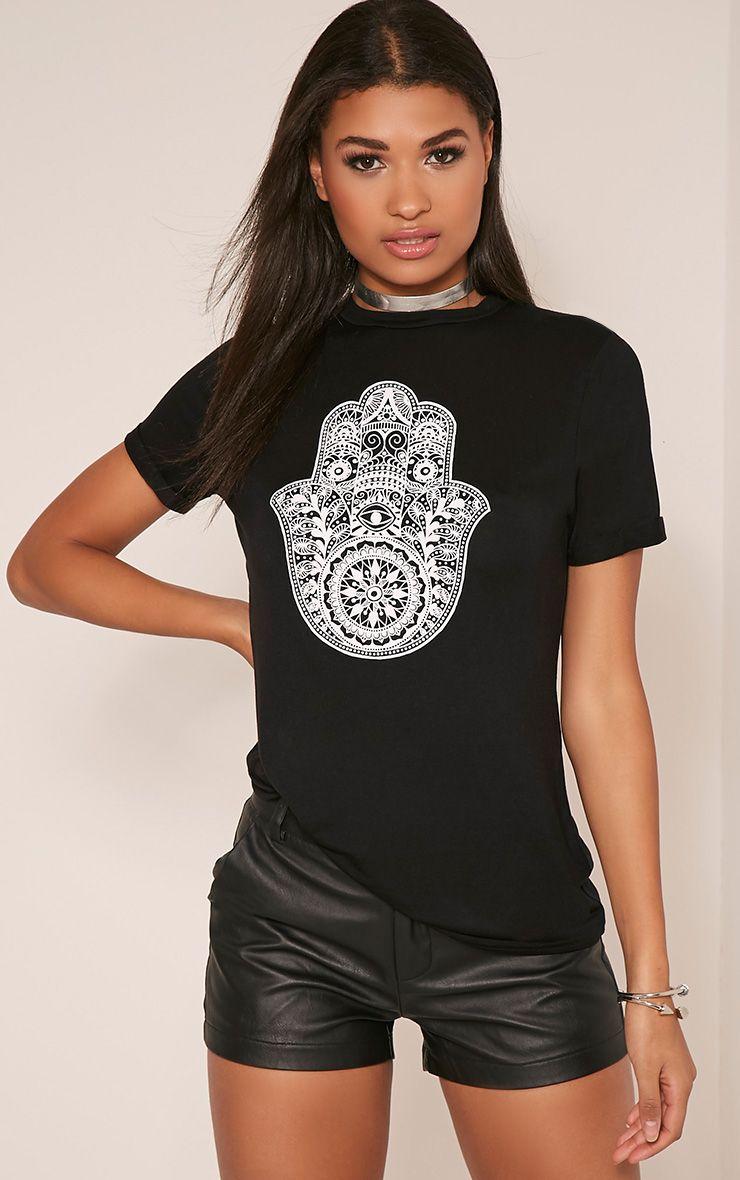 Hamza Print Black T-Shirt