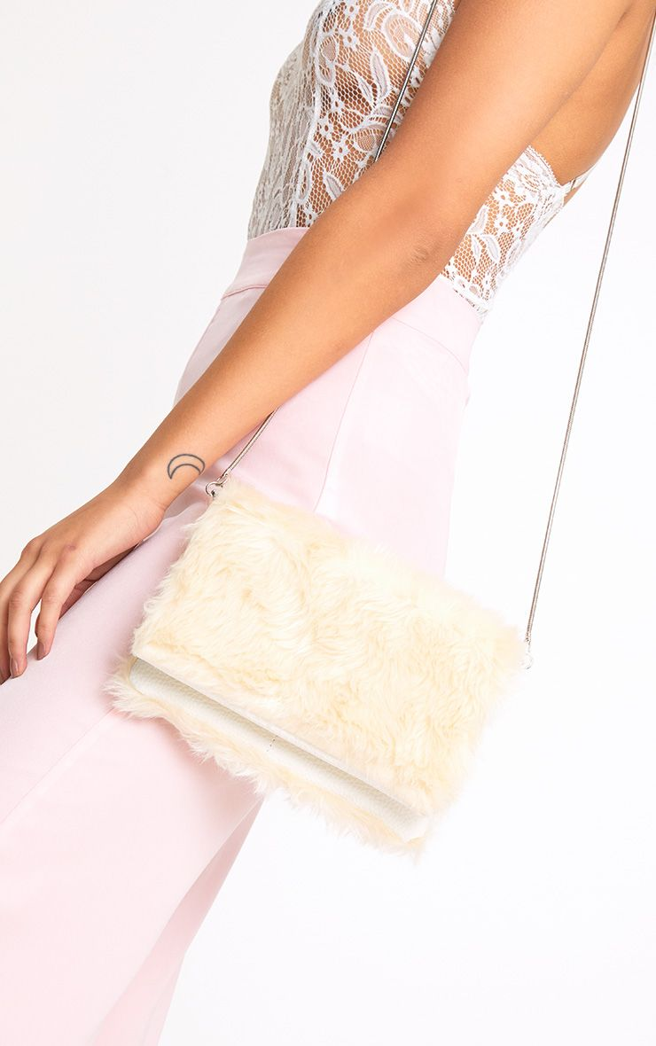 Cream Fluffy Clutch Bag