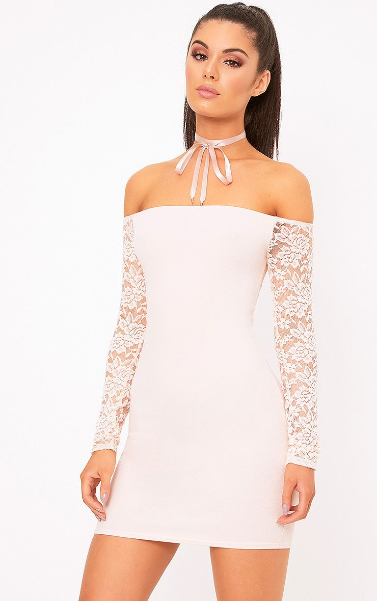 Larsia Nude Lace Sleeve Bardot Bodycon Dress