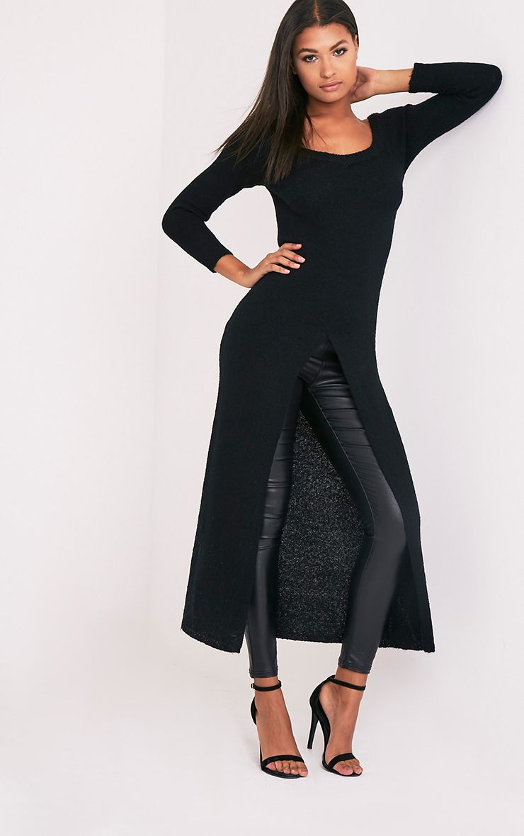 Dyanie Black Split Front Jumper Dress
