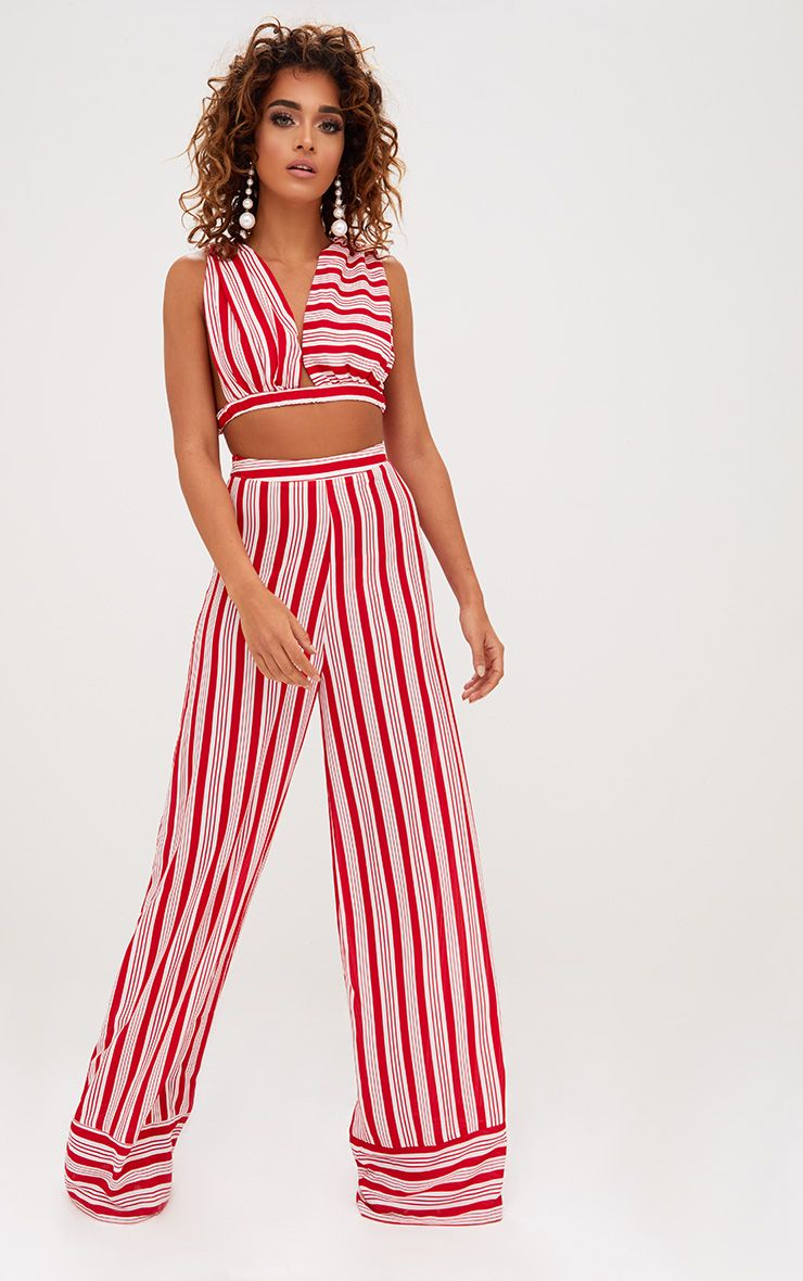 Red Contrast Stripe Mix Wide Leg Trousers