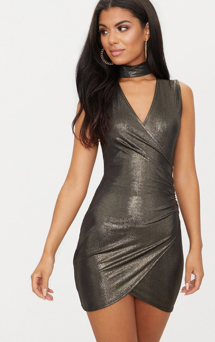 Online gold metallic plisse ruched front bardot bodycon dress casual midi