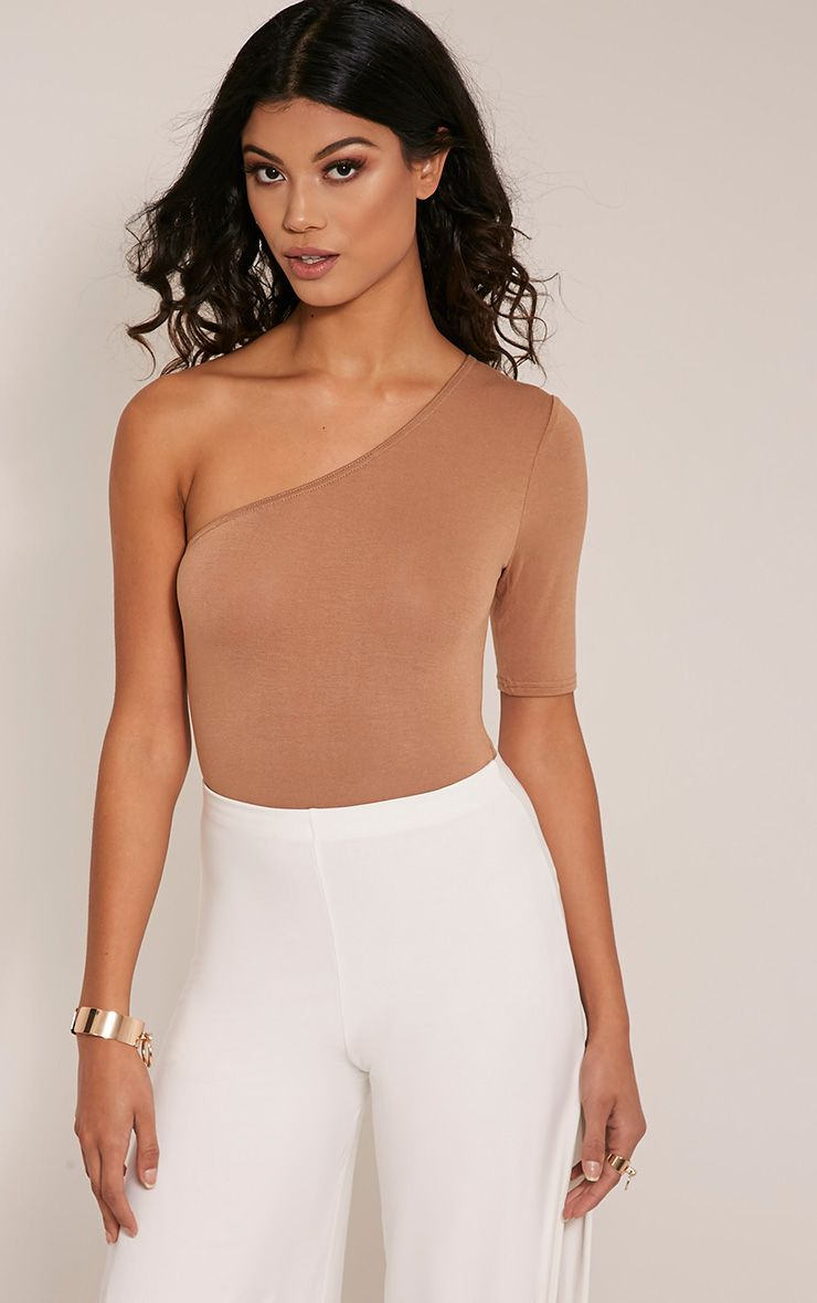 Jess Camel One Shoulder Jersey Thong Bodysuit