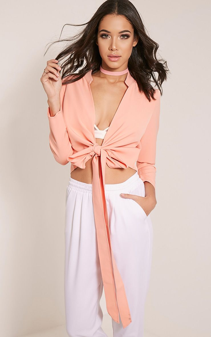 Blanche Coral Tie Front Long Sleeve Crop Top 1