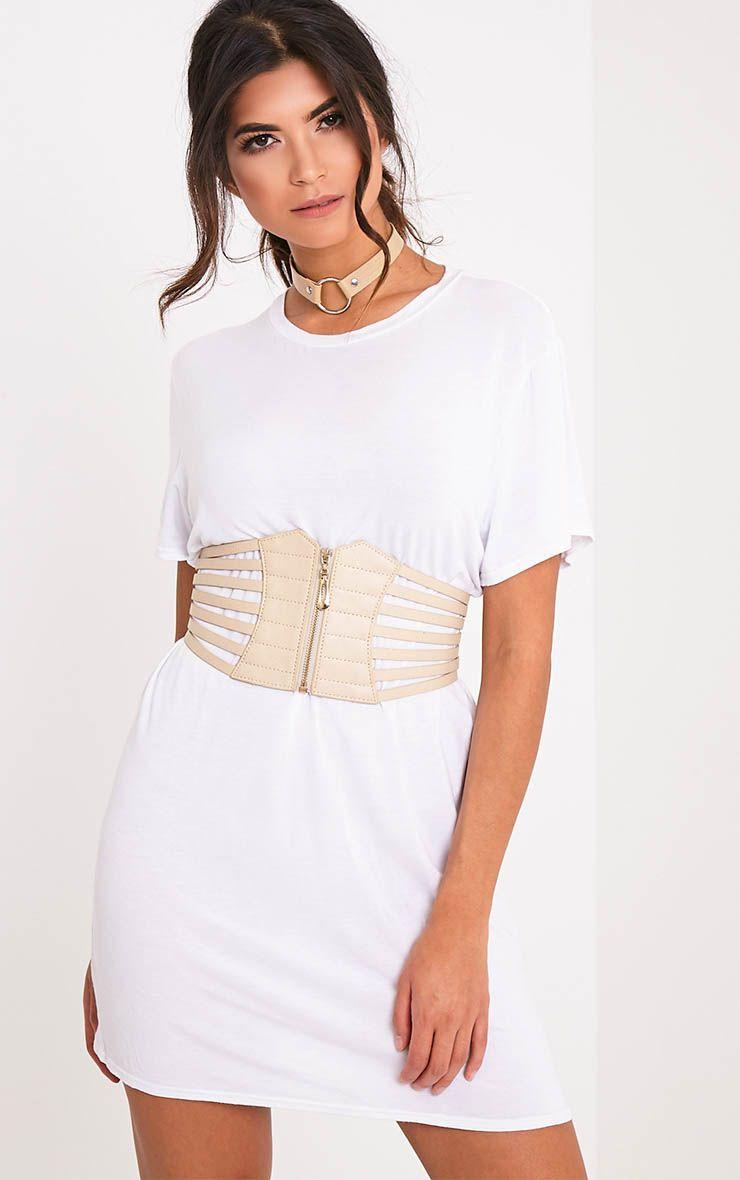 Kimie ceinture-corset couleur chair à fermeture clair