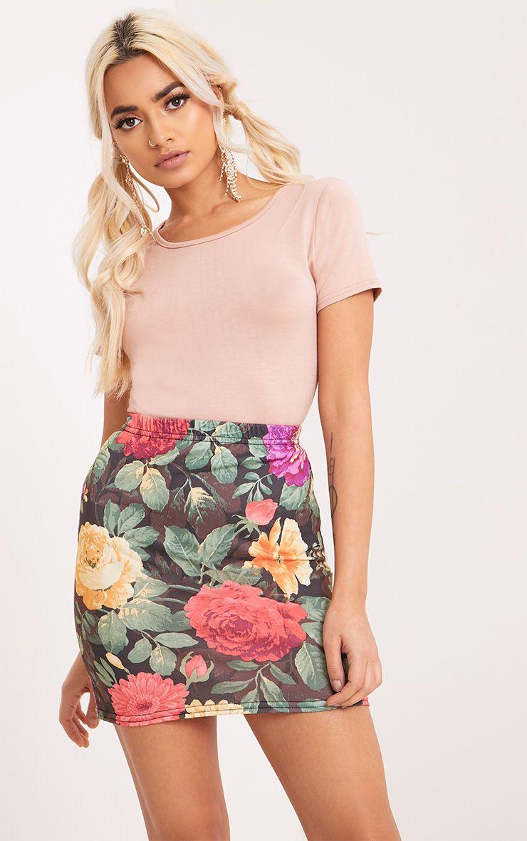 Hasana Black Large Floral Print Mini Skirt