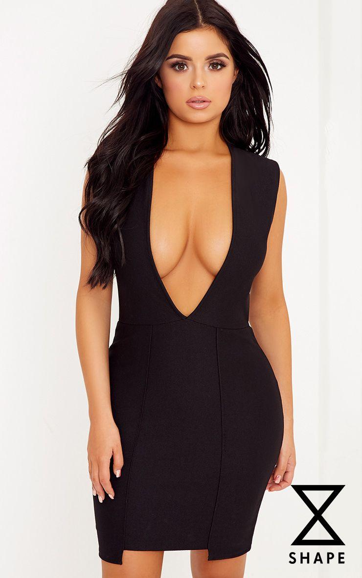 Shape Deena Black Plunge Hem Detail Bodycon Dress