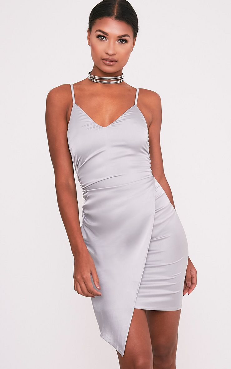 Azul Ice Grey Silky Wrap Cami Dress 1