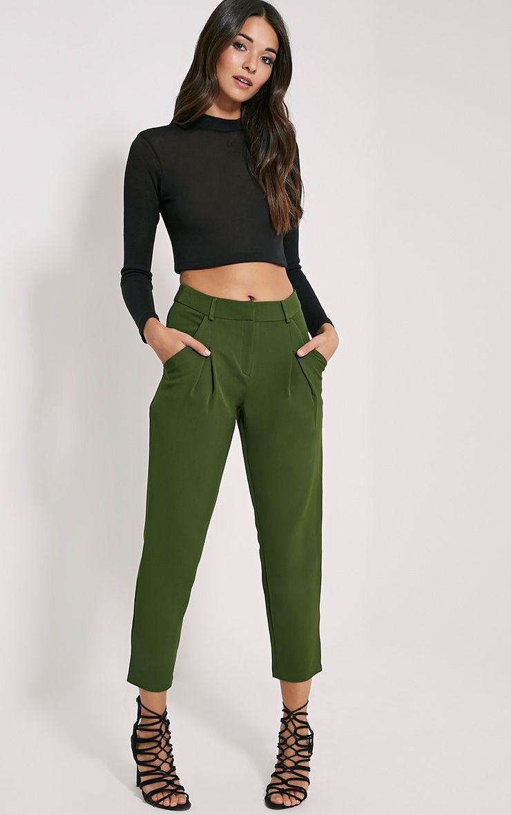 Matilda Khaki Premium Tailored Trousers 1
