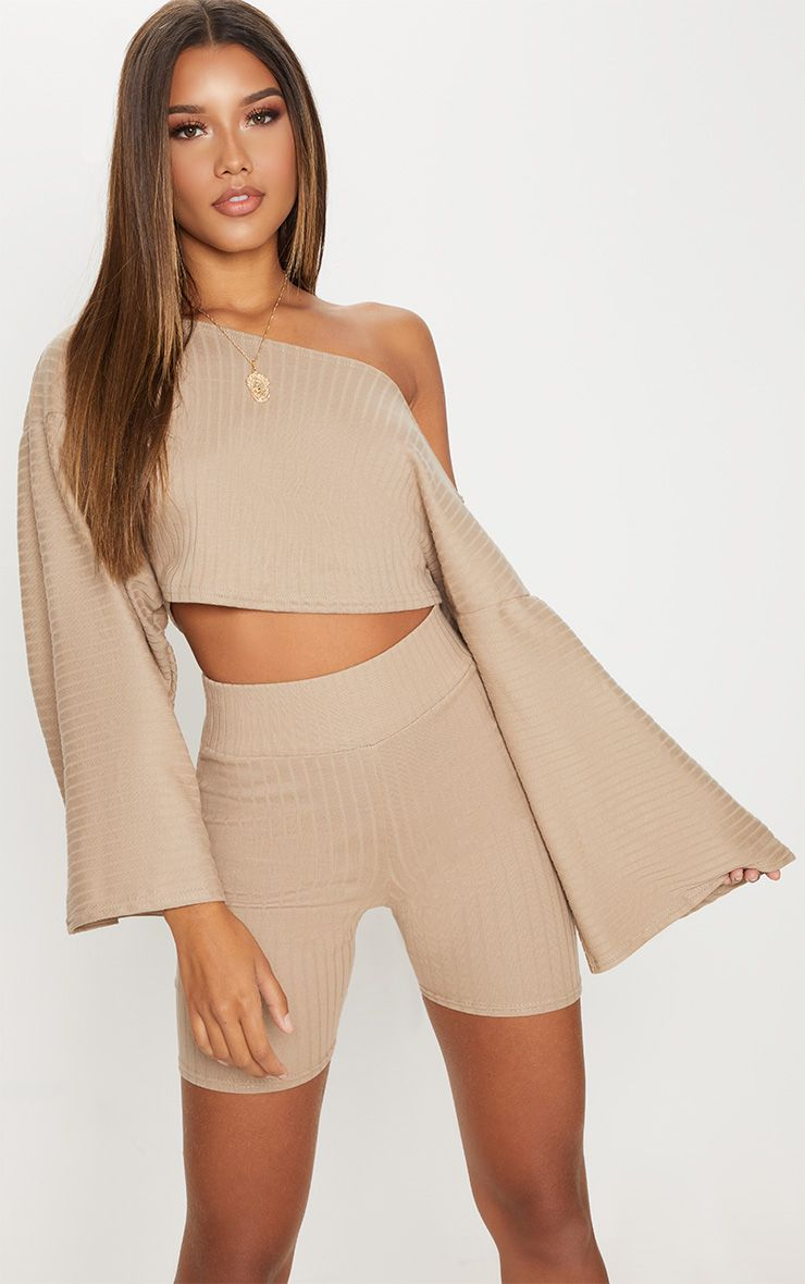 Taupe Rib Off The Shoulder Crop Top