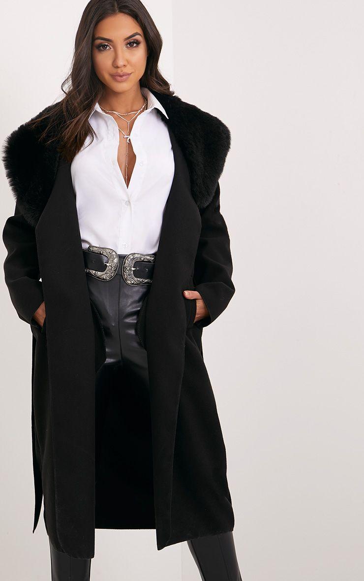 Eira Black Faux Fur Collar Oversized Coat