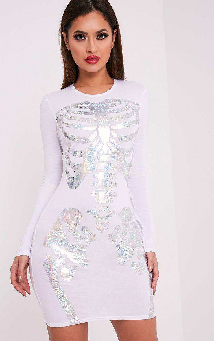 Holographic Skeleton Print White Bodycon Dress