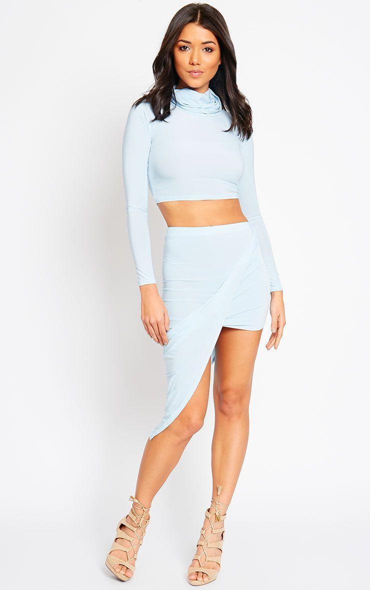 Alba Powder Blue Slinky Drape Skirt 1