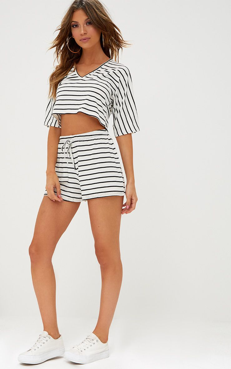 Cream Jersey Stripe Shorts