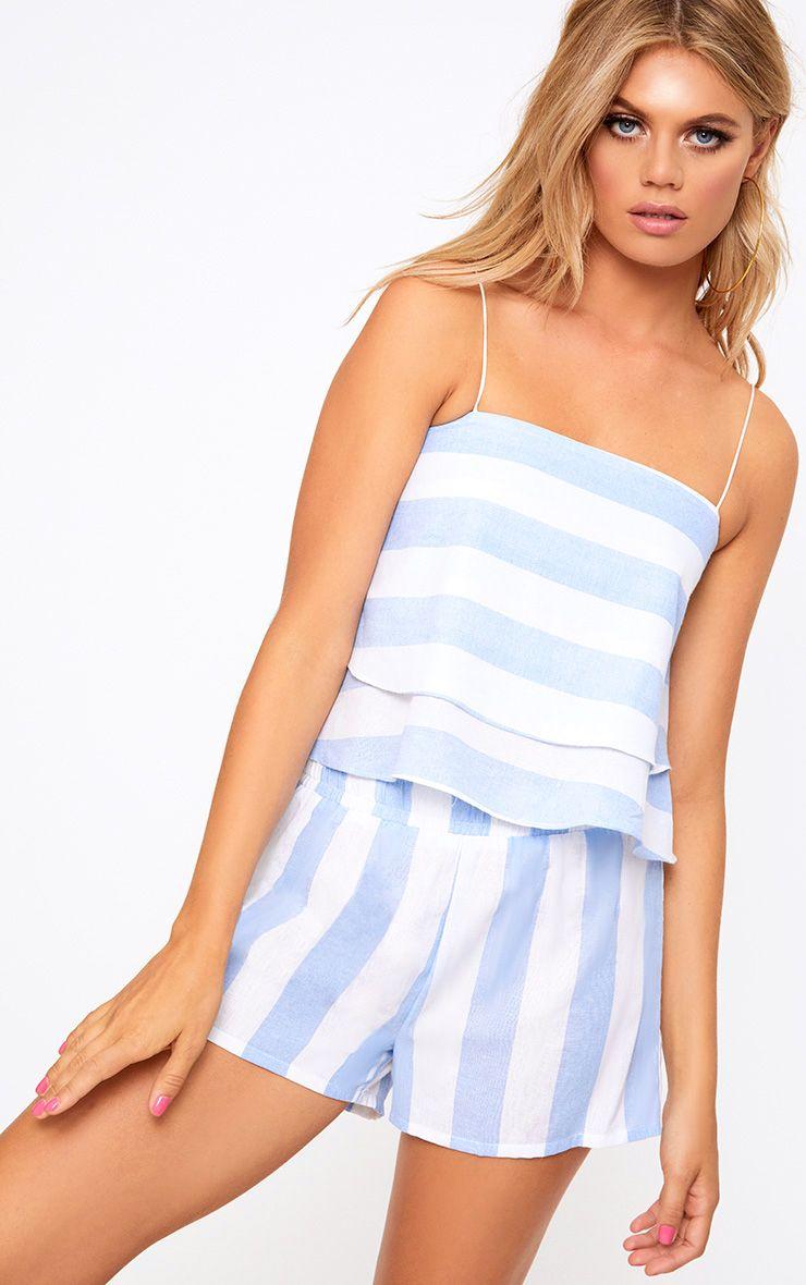 Baby Blue Bold Stripe Beach Crop Top