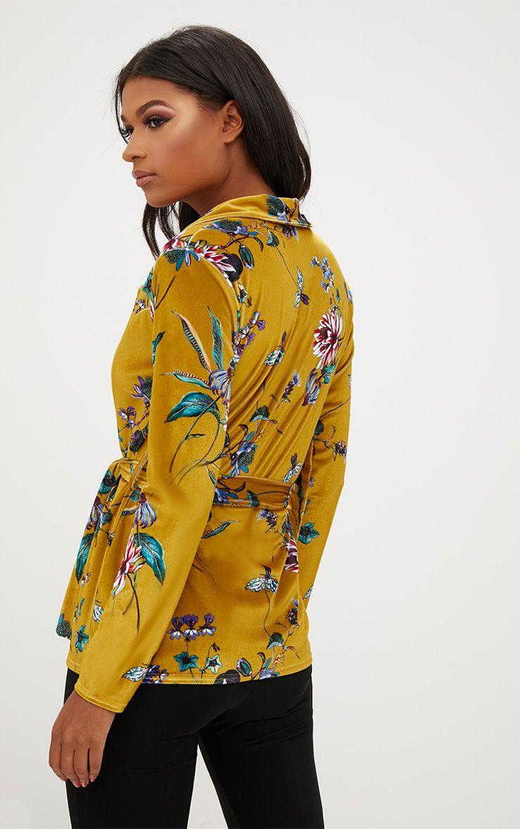 Blazer en velours moutarde imprim floral et ceinture manteaux et vestes - Blazer jaune moutarde ...